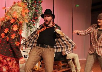 Katherine Innes as Dorcas, Jimmy James Eaton as Autolycus and Alicia Beckhurst as Clown. Photography by Ken Miller