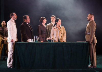 Yalin Ozucelik as Iago, James Lugton as Brabantio, Huw McKinnon as Duke, Joanna Downing and Alice Meohavong as Ensemble, Michael Wahr as Cassio and Ray Nee Chong as Othello. Photography by Daniel Boud.