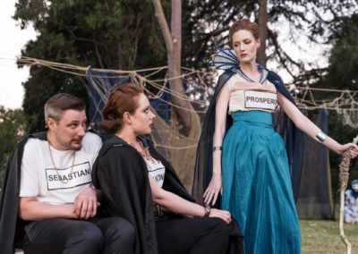 Andrew Iles as Sebastian, Jessica Tanner as Antonio and Emma Louise Pursey as Prospero.By Burke Photography.