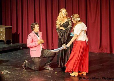 Jordan McGowan as Mayor Diddlespoon, Tia Hogan as Lady Edwina and Melanie Thoren as Phoebie. Photography by Duane Wheare.